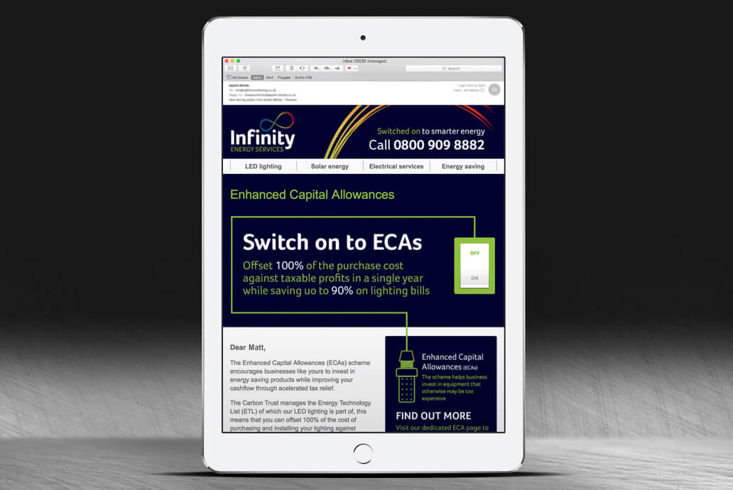 Infinity email campaign