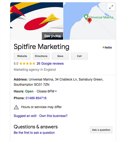 Local SEO listing