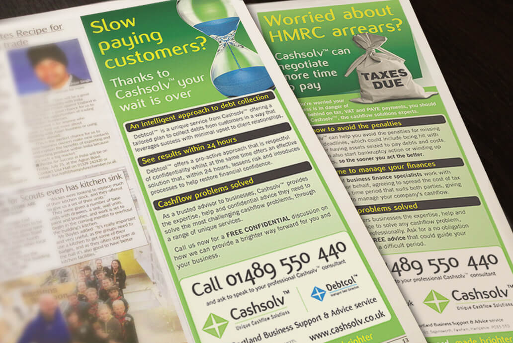 Cashsolv magazine advert design