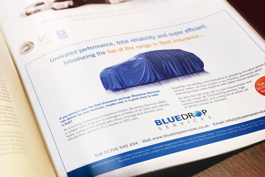 Bluedrop Insurance Press advertising